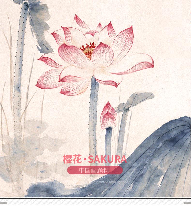 国画颜料_日本樱花国画颜料 中国画颜料24色18色12色12ml 颜料 单支 套装_大红