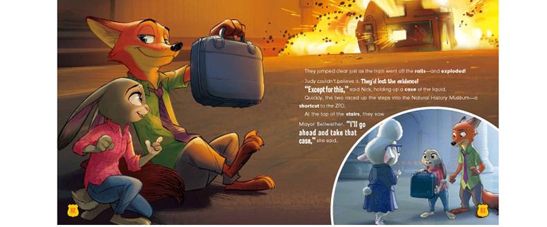 《疯狂动物城双语图画故事书附带单词表幼儿童英语书.