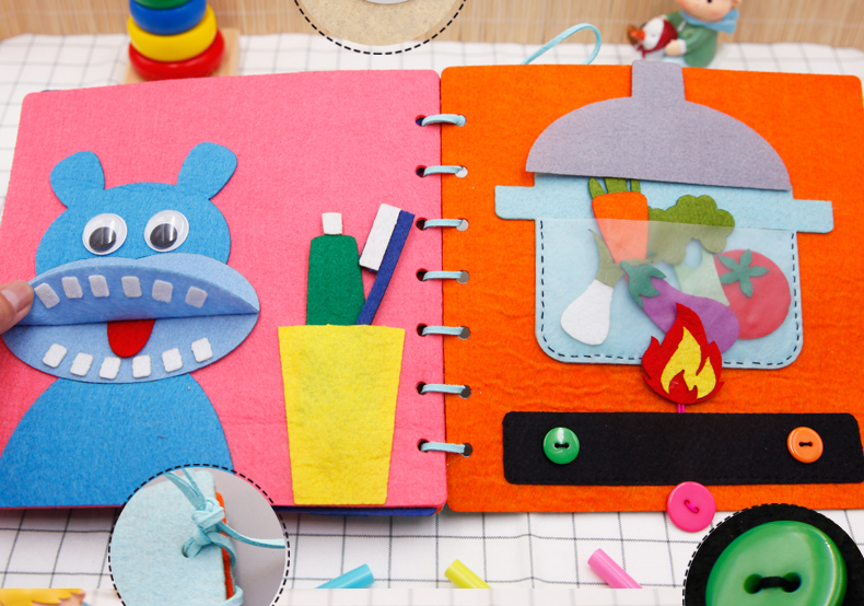 蒙特梭利早教布书 幼儿园儿童手工diy 制作材料包自制绘本diy