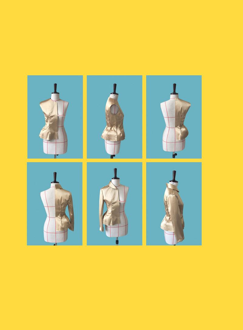 第4章 婚纱、礼服制作本章采用欧美高级成衣定制方法,结合国际大师作品,深入分析立体裁剪的更高水准创意设计剪裁,这种欧美裁剪方法在中国市场才刚开始,创意设计立裁更加注重服装款式的造型设计,可以拓展服装裁剪师的思维,同时提高其审美鉴赏能力。4.1 John Galliano婚纱此款(图4-1)为英国John Galliano 2013作品,其设计构思富有激情和想象力,凭借大胆前卫的剪裁和别具匠心的设计,从彩色玻璃纱推褶到扇子造型,都为其奢华婚纱添加了神话般的光芒。优美的立体造型,精湛的裁剪工艺,是构成高级服装