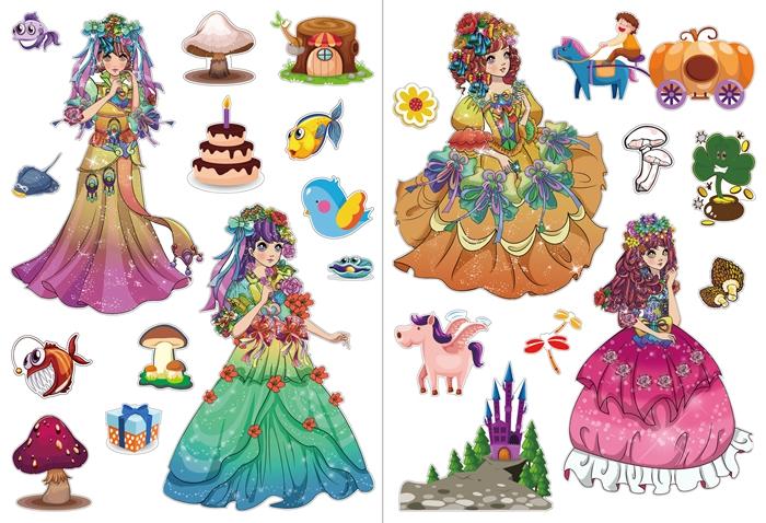 华夏出版社《俏丽公主涂色贴纸书》第一季共4册,分别为:《童话公主》《古典公主》《完美新娘》和《华丽公主》。 世界上每一个小女孩都有公主情结,她们希望自己拥有美丽的头发、圆圆的大眼,穿着华丽的蓬蓬纱裙,戴上皇冠或者花环,能够拯救善良的人们。她们更渴望挥动手中的魔法棒,主宰自己的小宇宙。 这套《俏丽公主涂色贴纸书》包含古典公主、华丽公主、完美新娘和童话公主等主题形象,书里满是大幅公主涂色线稿,以及各种魅力公主的贴贴画。小公主拿起涂色笔涂涂圈圈点点,很快就能完成一幅最俏丽的公主涂画。在涂色过程中,小公主们可以任
