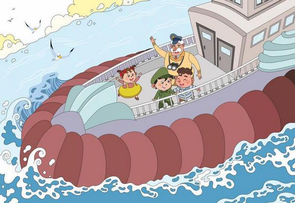"""水滴一样的汽车 在码头旁边,靠着大大小小的各种新式轮船,大的像座山,小的像洗澡盆。有好几条是两个船身的双身船。 气垫船跟别的船不同,它竟然从海里一直冲到码头上,才把气放掉,卧在地上。 爷爷是船长,等旅客们都下船了,他才领我们穿过走廊,走下气垫船。 """"爷爷,你瞧,爸爸、妈妈来接我们啦!"""