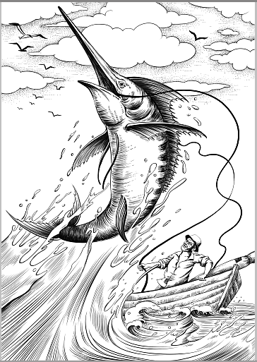 老人与海中老人的插图简笔画